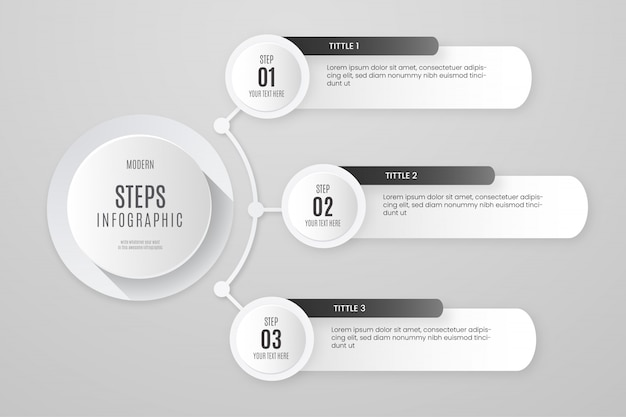 Modelo de infográfico de etapas brancas