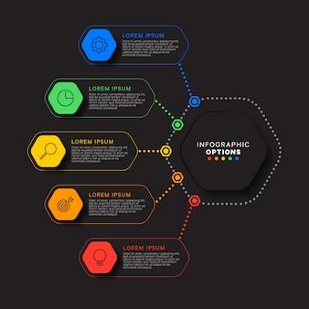 Modelo de infográfico de etapas com elementos hexagonais realistas