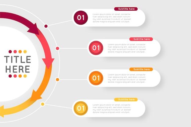 Modelo de infográfico de etapas de design plano
