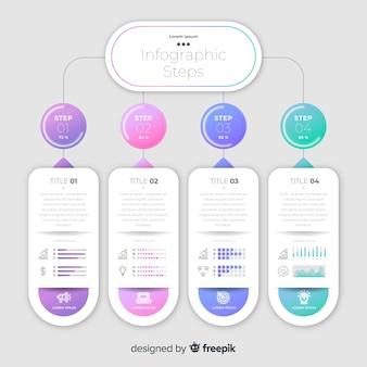 Modelo de infográfico de etapas de negócios coloridos