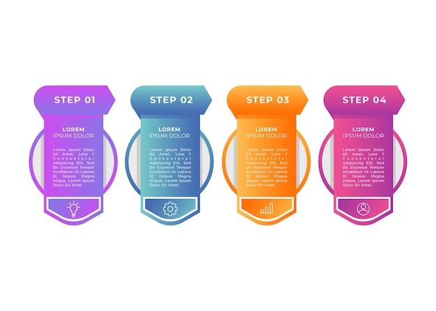 Modelo de infográfico de etapas gradientes