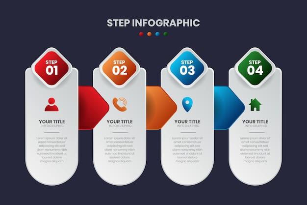 Modelo de infográfico de etapas