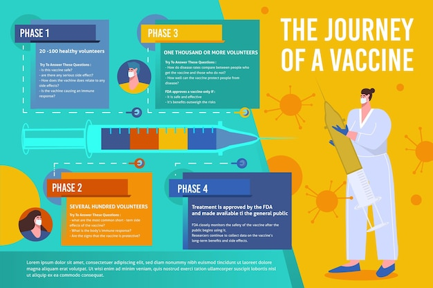 Modelo de infográfico de fases de vacina de coronavírus plana