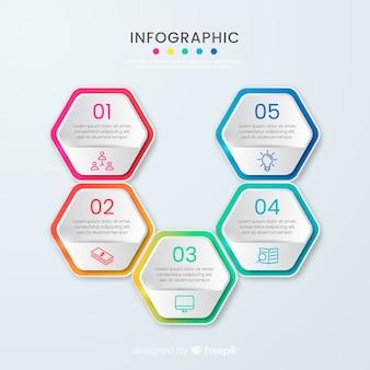 Modelo de infográfico de favo de mel de negócios de apresentação