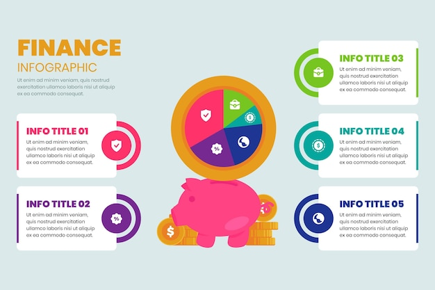 Modelo de infográfico de finanças de cofrinho