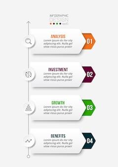 Modelo de infográfico de fluxo de trabalho de processo de 4 etapas