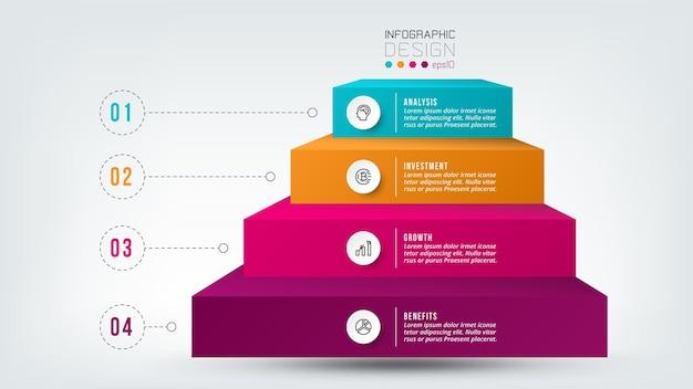 Modelo de infográfico de fluxo de trabalho de processo de 4 etapas.