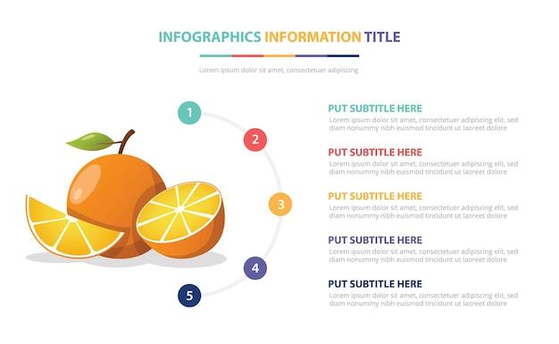 Modelo de infográfico de frutas laranjas com ilustração de descrição de número