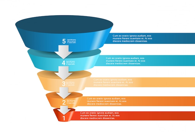 Modelo de infográfico de funil 3d