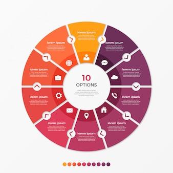 Modelo de infográfico de gráfico de círculo com opções.