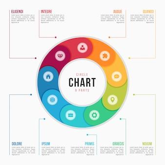 Modelo de infográfico de gráfico de círculo com peças, processos, etapas