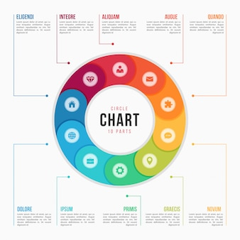 Modelo de infográfico de gráfico de círculo com peças, processos, passo