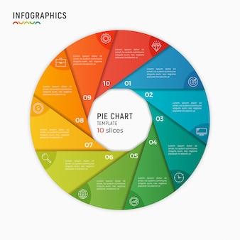 Modelo de infográfico de gráfico de círculo de vetor. opções, etapas, peças