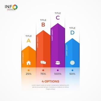 Modelo de infográfico de gráfico de coluna com 4 opções. os elementos deste modelo podem ser facilmente ajustados, transformados, adicionados / completados, excluídos e a cor pode ser alterada.