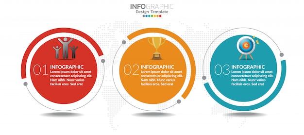 Modelo de infográfico de gráfico de linha do tempo com 3 etapas ou opções.