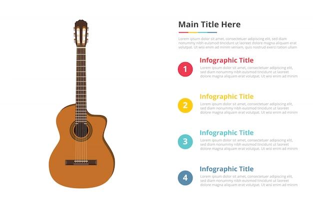 Modelo de infográfico de guitarra clássica com 4 pontos