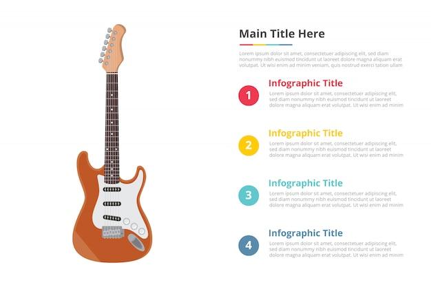 Modelo de infográfico de guitarra elétrica com 4 pontos