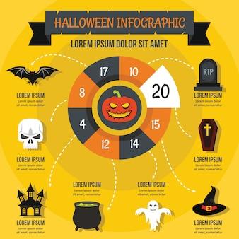 Modelo de infográfico de halloween, estilo simples