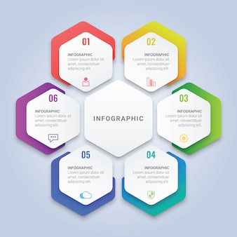 Modelo de infográfico de hexágono com seis opções para layout de fluxo de trabalho, diagrama, relatório anual, web design