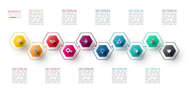 Modelo de infográfico de hexágono