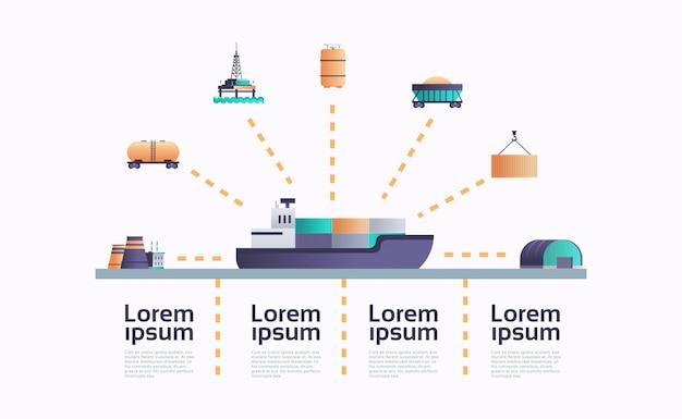 Modelo de infográfico de ícone do mar navio petroleiro carga contêiner navio