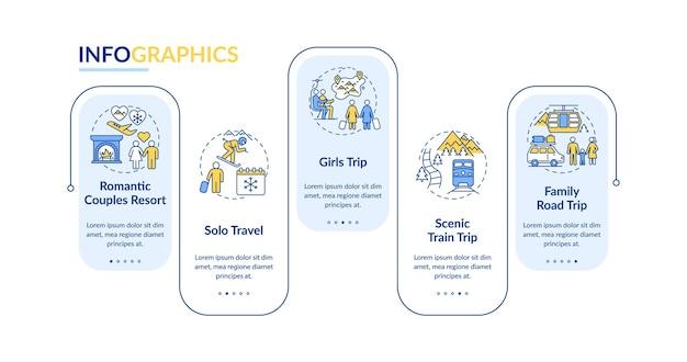 Modelo de infográfico de ideias de viagem de inverno