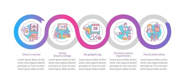 Modelo de infográfico de ideias para diversão em família