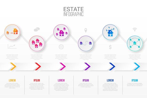 Modelo de infográfico de imóveis em estilo papel