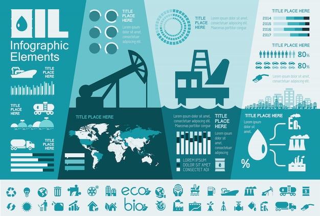 Modelo de infográfico de indústria de petróleo