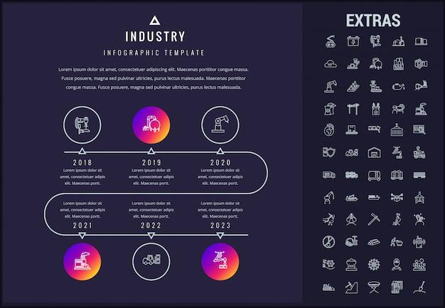 Modelo de infográfico de indústria, elementos e ícones.