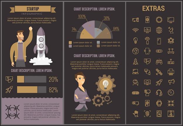Modelo de infográfico de inicialização, elementos e ícones