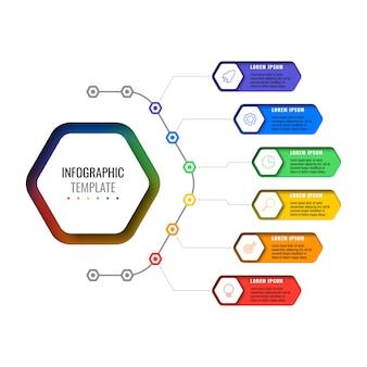 Modelo de infográfico de layout com seis opções de elementos hexagonais. diagrama de processo de negócios