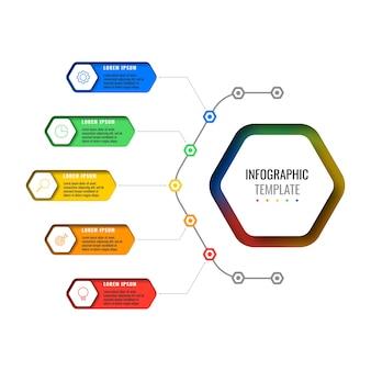Modelo de infográfico de layout de design de cinco opções com elementos hexagonais