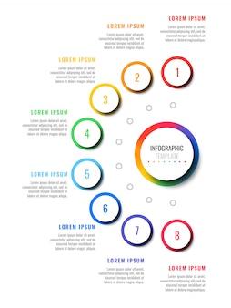 Modelo de infográfico de layout de design de oito etapas com elementos realistas 3d redondos. diagrama de processo para brochura, banner, relatório anual