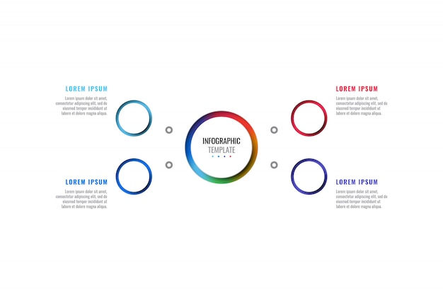Modelo de infográfico de layout de design de quatro etapas com elementos de corte peper realista 3d redondos