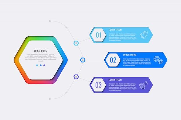 Modelo de infográfico de layout de design de três etapas simples com elementos hexagonais. diagrama de processo de negócios para banner, cartaz, folheto, relatório anual e apresentação com ícones de marketing.