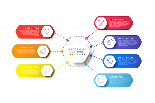Modelo de infográfico de layout de sete etapas com elementos hexagonais