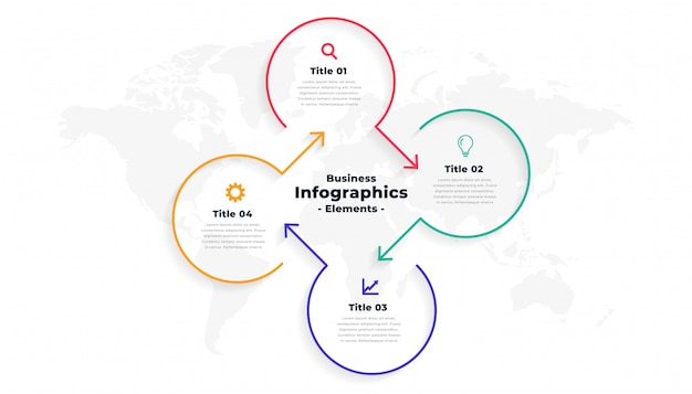 Modelo de infográfico de linha direcional de quatro etapas