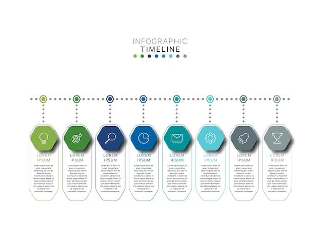 Modelo de infográfico de linha do tempo horizontal com elementos hexagonais multicoloridos em cores planas