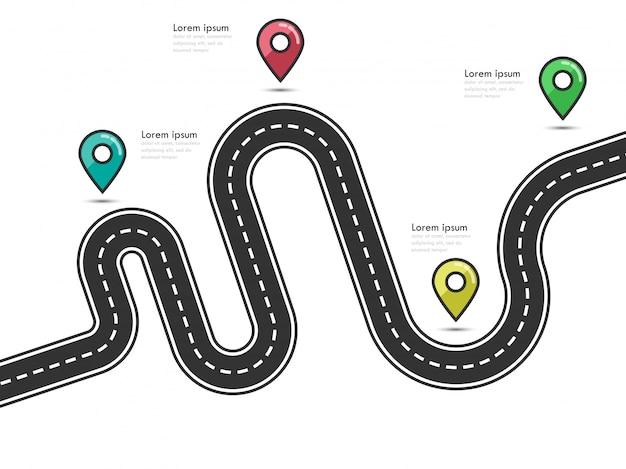 Modelo de infográfico de localização de caminho de estrada com ponteiro de pino