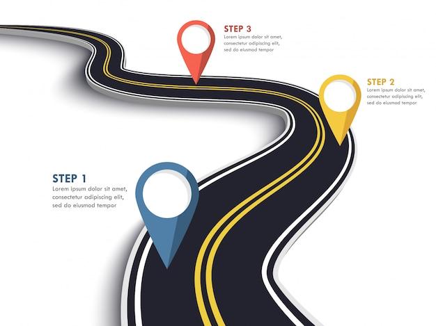 Modelo de infográfico de localização de caminho de estrada sinuosa com ponteiro de pin.