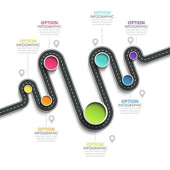 Modelo de infográfico de localização de caminho de estrada sinuosa com uma estrutura em fases