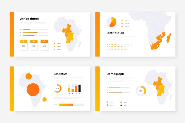 Modelo de infográfico de mapa da áfrica