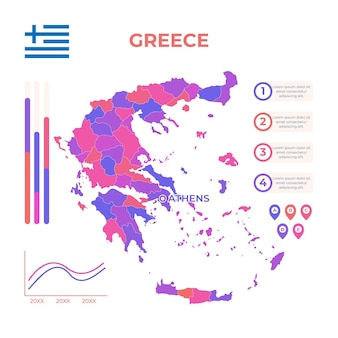 Modelo de infográfico de mapa da grécia desenhado à mão