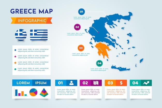 Modelo de infográfico de mapa da grécia