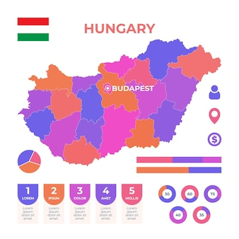 Modelo de infográfico de mapa da hungria desenhado à mão