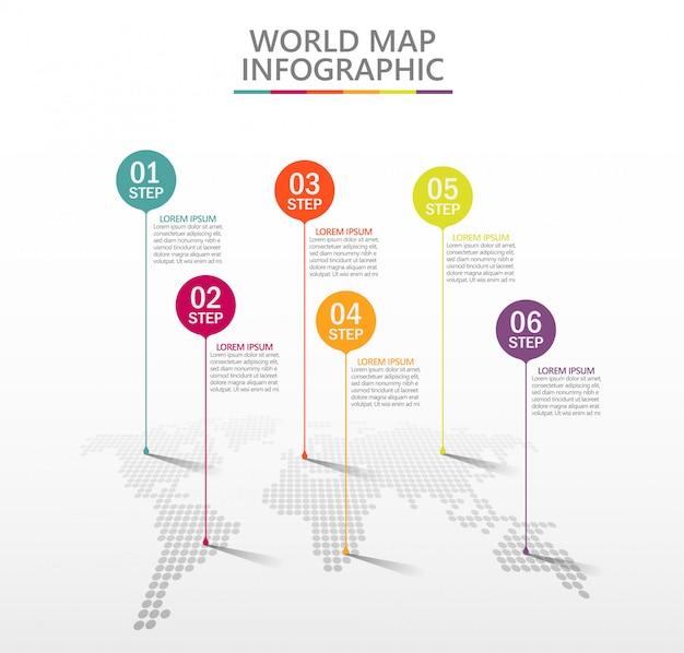Modelo de infográfico de mapa de mundo de negócios de apresentação