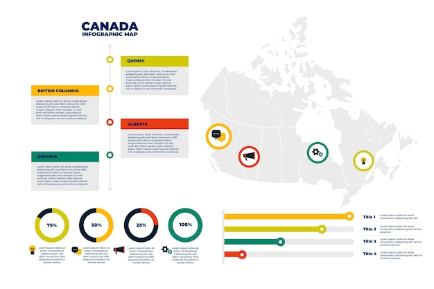 Modelo de infográfico de mapa plano do canadá