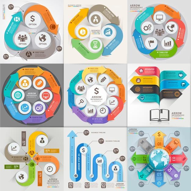 Modelo de infográfico de marketing empresarial de setas.