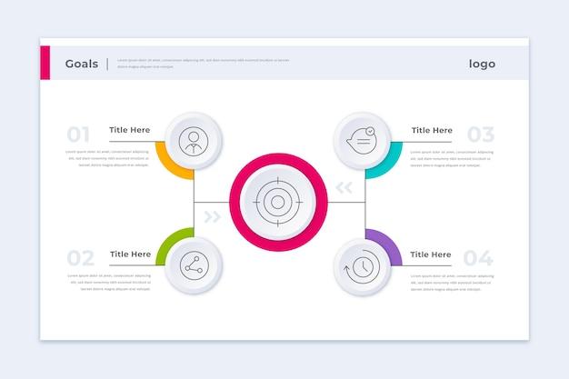 Modelo de infográfico de metas coloridas